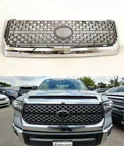 Fit For 2014 2018 Toyota Tundra Grille Sliver Chrome Grille