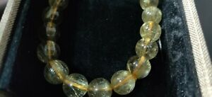 Natural Yellow Crystal 1 Cm Diameter Beads Bracelet For Men And Women