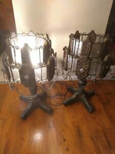 Medieval Gothic Table Lamp Etched Glass Metal Halloween Theme Game Of Thrones