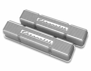 Valve Cover Vintage Series Tall Finned Chevy Logo Aluminum Natural Pair