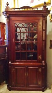 X Large Antique 19th C American Two Part Victorian Corner Cabinet Cupboard Hutch
