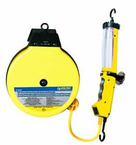 Voltec 07 00249 Retractable Cord Reel With 13 Watt Fluorescent Work Light 35ft