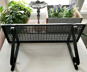 Vtg Mid Century Modern Mesh Woodard Style 20 Black Iron Wall Shelf W Brackets