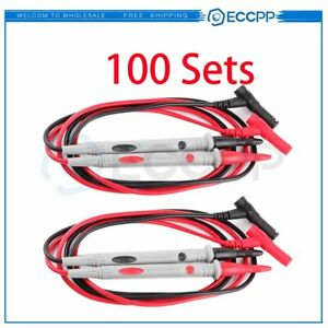 100 Pcs With Banana Plug Connectors Detachable Tip 1000v Multimeter Test Lead