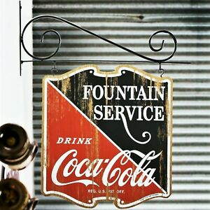 Coca-Cola Fountain Service Wall Mounted Double Sided Wood Pub Sign - Retro Coke