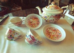 Antique Partial Tea Set H S China W Asian Scenes People Collectibles Display