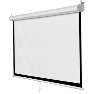 119 Manual Pull Down Auto Lock Projector Projection Screen Party Movie 84 x84
