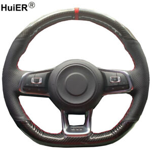 Hand Sewing Steering Wheel Cover For Volkswagen Golf 7 Gti Golf R Mk7 Polo Gti