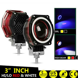 2x 3inch 140w Led Work Driving Light Halo Angel Eyes Round Hi Lo Red
