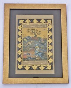 Rare Large Antique Early 19th C Persian Hand Painted Manuscript Scroll Painting