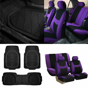 Purple Black Car Seat Covers Full Set For Auto W Deep Dish Rubber Floor Mats