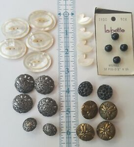Vintage Lot Of 25 Metal And Mother Of Pearl Buttons Ducks Scroll Rhinestone