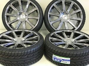 22 Set Of 4 Chrysler Dodge Charger 5x115 5x114 3 Wheels Rims Tires Chrome New