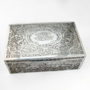 Large Acid Etched Box Cigar Humidor Sterling Silver William Kerr