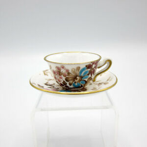 Crown Staffordshire Miniature Cup And Saucer Hand Painted Enamel