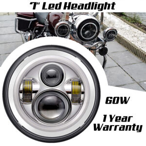 7 Inch Round Led Headlight Halo Angle Eye For Jeep Cj 7 Wrangler jk Tj Truck