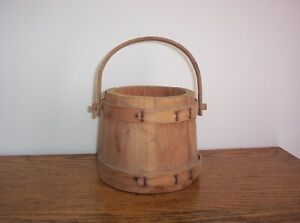 Primitive Vintage Small Wooden Firkin No Lid Stack Topper 4 1 2 Tall Bucket