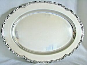Wallace Melford 16 Silverplate Serving Tray Platter M613 S Footed Floral Edge
