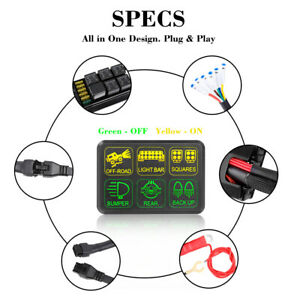 6 Gang Switch Panel Electronic Relay System Relay Control Box Car Boat Marine