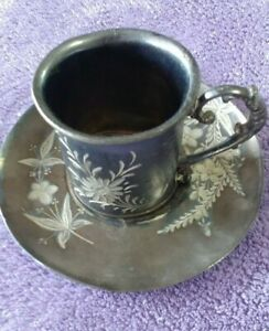 Floral Etched Silverplate Cup Saucer Barbour Bros Co Derby Silver Plate Co