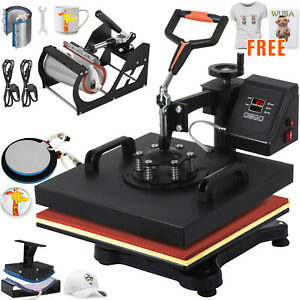 6 In 1 Heat Press Machine Transfer 15 x15 Free T shirt Sublimation Combo Kit