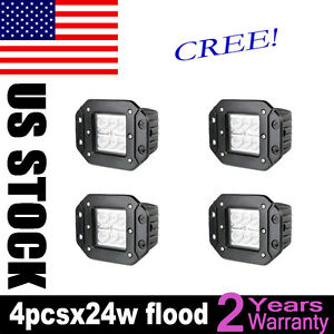 4x 24w Flood Led Cube Pods Work Light Flush Mount Offroad Truck Jeep Square