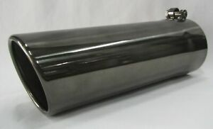 Black Chrome 4 In X 4 Out X 12 l Diesel Exhaust Tip Ford Powerstroke