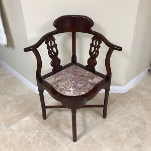 Vintage Asian Chinoiserie Rosewood Corner Arm Chair W Marble Seat Lqqk