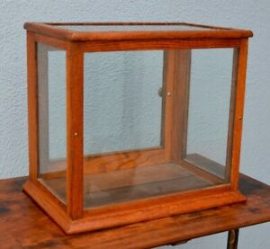Small Antique Oak Glass Gum Display Case Showcase Counter Top Store Display