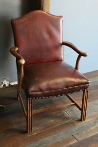Vintage Oxblood Red Leather Executive Office Chair Desk Chair Wood Arms Legs Old
