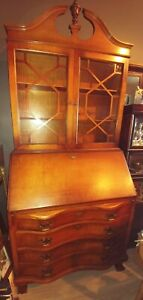 Gorgeous Chippendale Style Tiger Maple Secretary Desk Glass Cabinet 4 Drawer 84
