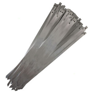 100 Pcs Stainless Steel Cable Zip Ties Self locking Head 0 3 X 14 180 Lb Hold
