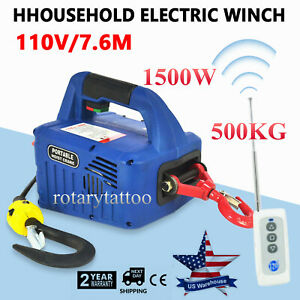 110v 500kgx7 6m Household Electric Winch Truck Suv Wireless Remote Control 1500w
