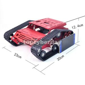 Tracked Tank Chassis Cnc Rc Aluminum Alloy For Arduino Diy Unfinished 12v Red