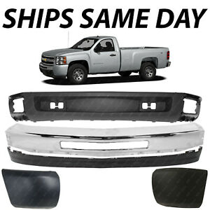 New Chrome Steel Front Bumper Bar Valance Kit For 2007 2013 Chevy Silverado 1500