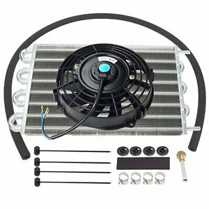 Aluminum 15 1 2 Radiator Transmission Oil Cooler 7 Cooling Fan Kit Universal