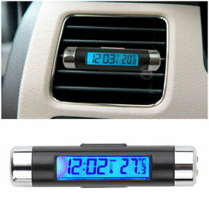 Car Lcd Clip On Digital Backlight Automotive Thermometer Clock Calendar Us