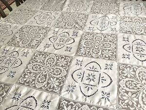 Vintage Hand Embroidered White Linen Lace Blue Embroidery Tablecloth 49x50