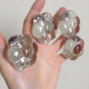 Antique 4 Pretty Moulded Clear Glass Flowers Dresser Knobs Drawer Pulls