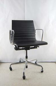 Herman Miller Eames Black Leather Office Aluminum Group Wheel Chair W Lift