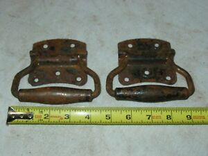 1 Pair Vintage Old Antique Heavy Duty Rust Steel Vintage Trunk Handles Hardware