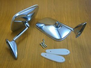 Chevy Ford Hot Rod Custom Chrome 5 9 x3 9 Swan Neck Side View Mirrors Pair