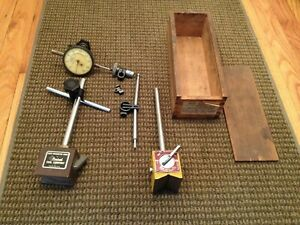Vintage Tool Lot Federal Model D8is Dial Indicator Central Enco Magnetic Bases