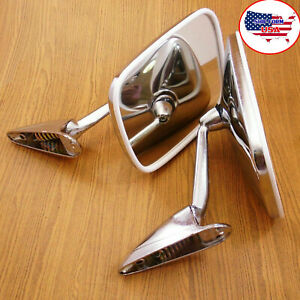 Universal For Car Classic Chrome Fender And Side View Door Mirrors Pair Lh Rh