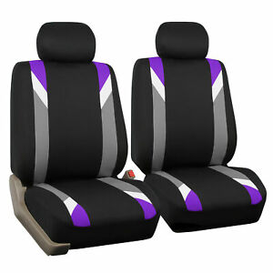 Front Car Seat Covers Purple Black Set For Auto Head Rest Two Bucket Seat Covers