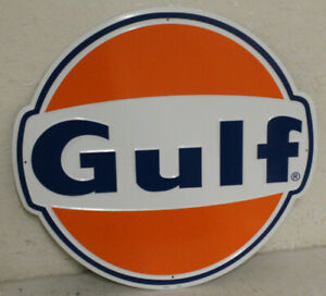 Large Vintage Style 24 Gulf Gas Station Signs Man Cave Garage Decor Oil Can