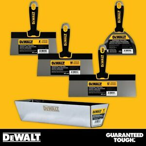 Dewalt Taping Knife Set Stainless Steel 8 10 12 W 16 Mud Pan 6 Putty Knife