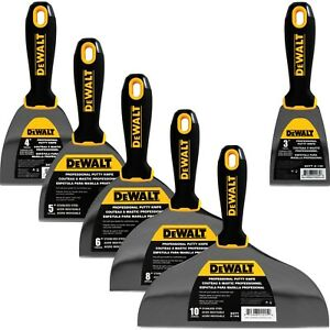 Dewalt Putty Knife Set 6pc 3 4 5 6 8 10 Stainless Steel Drywall Tools