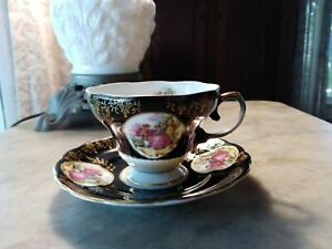 Vintage Royal Sealy China Black Teacup Saucer Courting Couple Japan Portrait