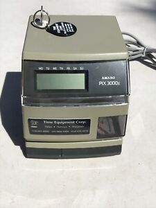 Amano Pix 3000x Digital Electric Time Stamp Recorder Clock Punch In Out W Key